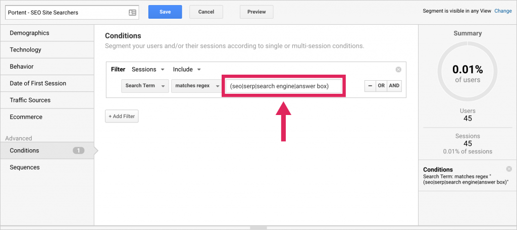 Screenshot showing how to segment users in Google Analytics.