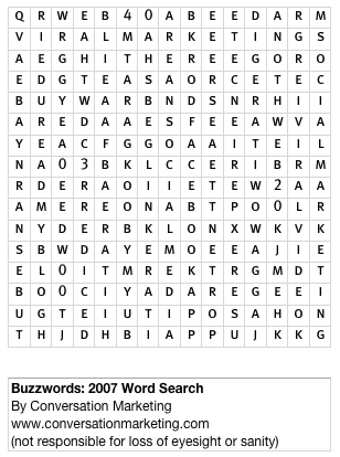 Marketing buzzwords 2007 word search portent for Portent in crossword