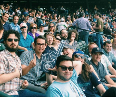 Portent employees at Mariners baseball game