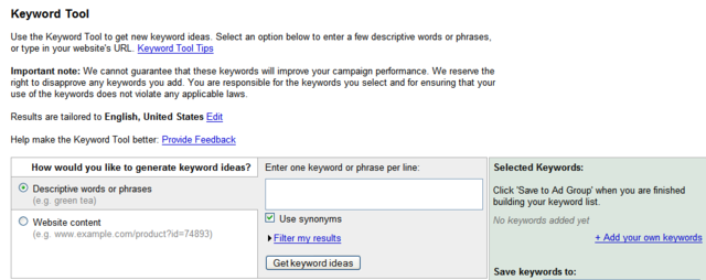 how to create keywords for adwords