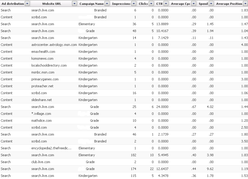 Microsoft adCenter placement report