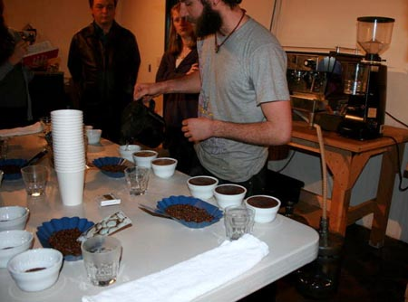Zoka Roaster Josh at the PI Cupping