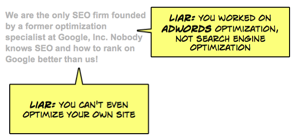 Liar! You worked on Adwords, not SEO