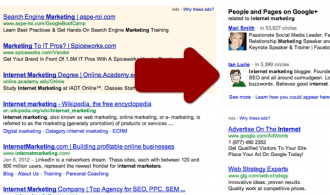 Google Search Plus Your World for 'internet marketing'