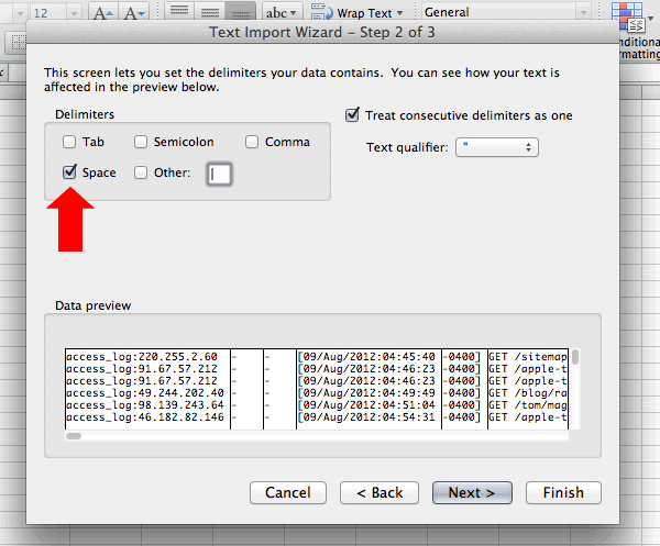 A space-delimited import in Excel