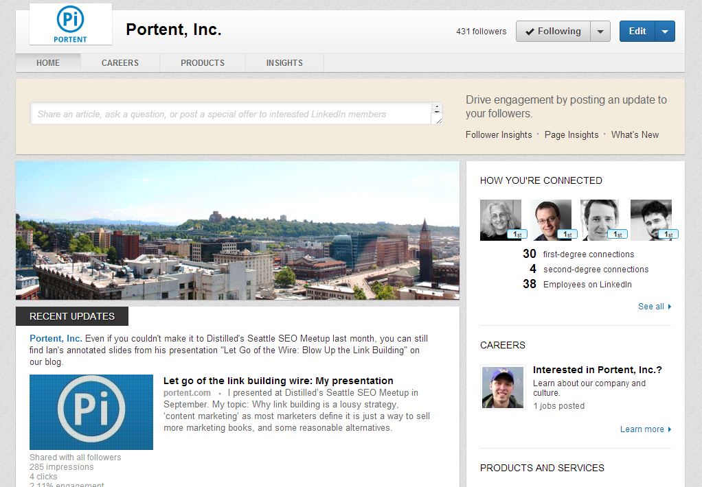 Optimize your new linkedin company page in 7 steps portent for Portent means