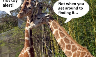 Giraffes talking about Toys R Us