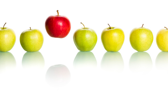 Stock photo of apples in line
