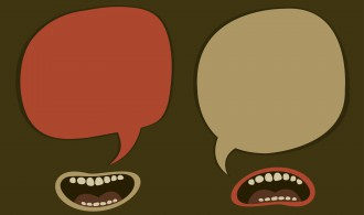 Graphic of talking mouths