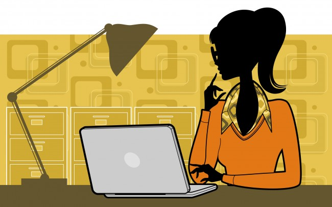 graphic of woman looking ponderously at computer