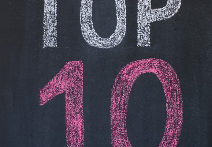 "Word ""Top 10'' written by a chalk on a blackboard"