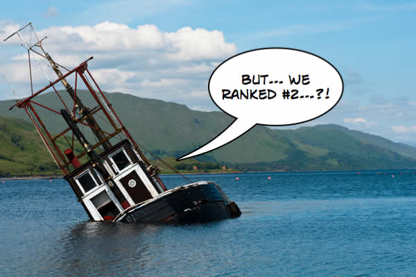Sinking ship with a thought bubble about rank
