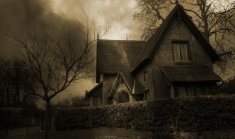 Haunted house in London, Sepia Tone - Brown