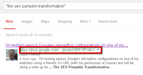 Screencap of pumpkin SEO experiment first