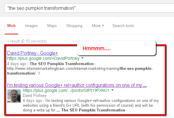 Screencap of pumpkin SEO experiment third