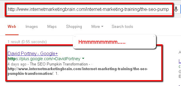 Screencap of pumpkin SEO experiment Fourth