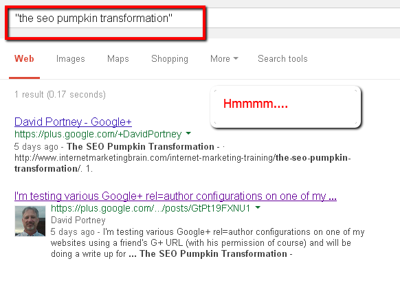 Screencap of pumpkin SEO experiment fifith