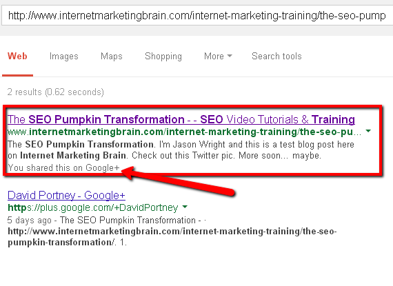 Screencap of pumpkin SEO experiment sixth