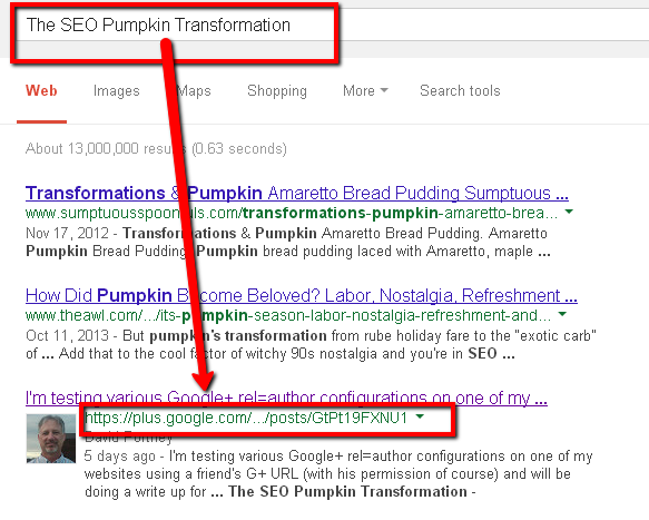 Screenshot of pumpkin SEO experiment seventh