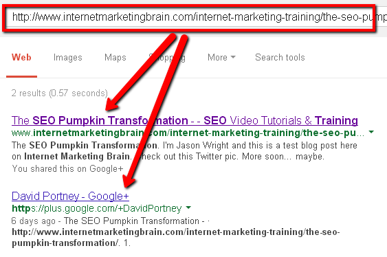 Screenshot of pumpkin SEO experiment eighth