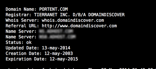 WHOIS result: Name Servers