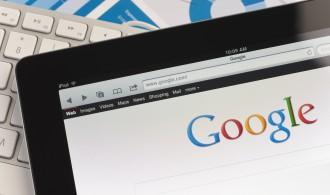 Ipad close-up showing Google