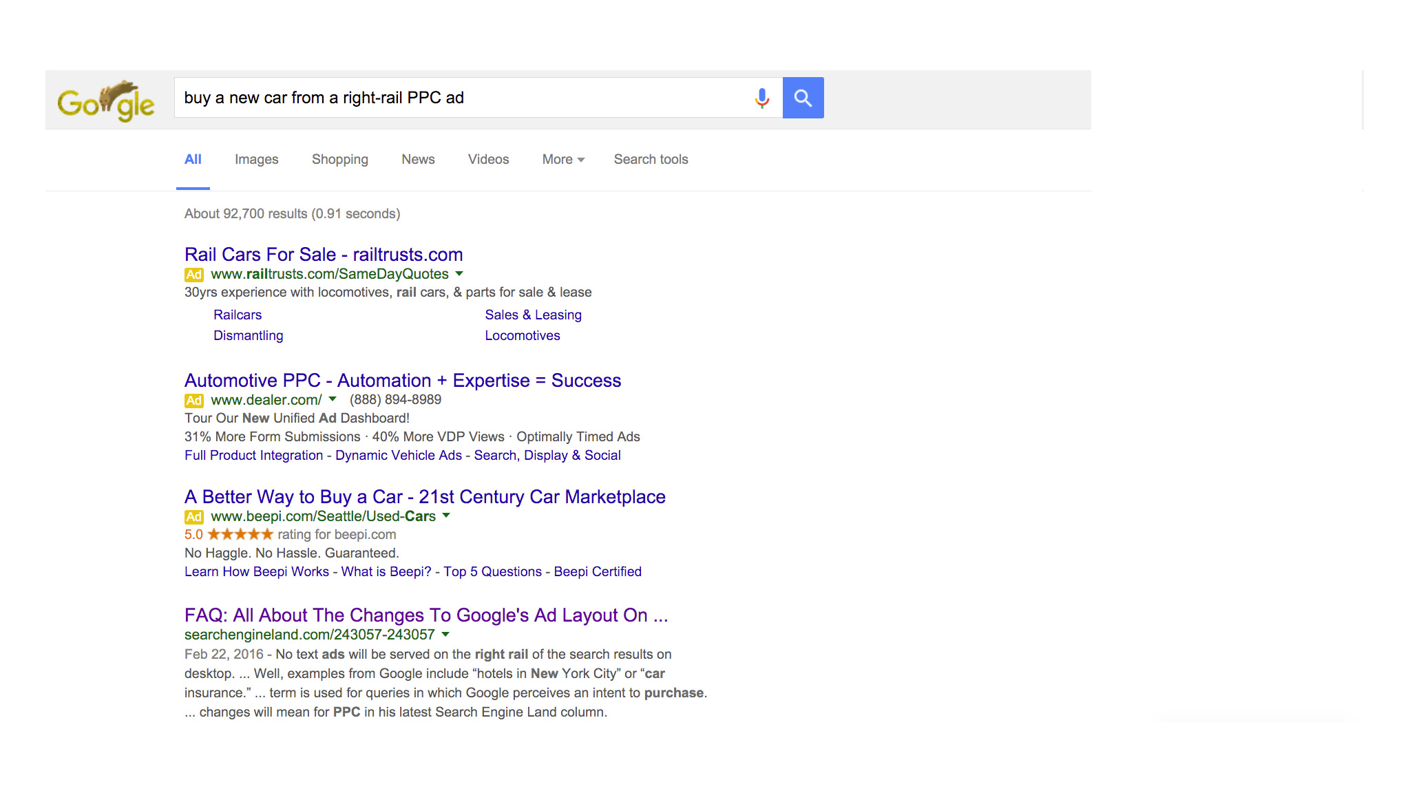 What google s elimination of side rail ads means for your for Portent means