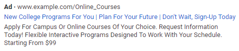 """In this example, an ad for online college courses includes the CTA """"Don't wait, sign up today."""""""