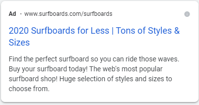 This example shows the landing page URL, title, and meta description for a surfboard ad.