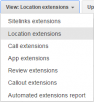 setting up location extensions dropdown