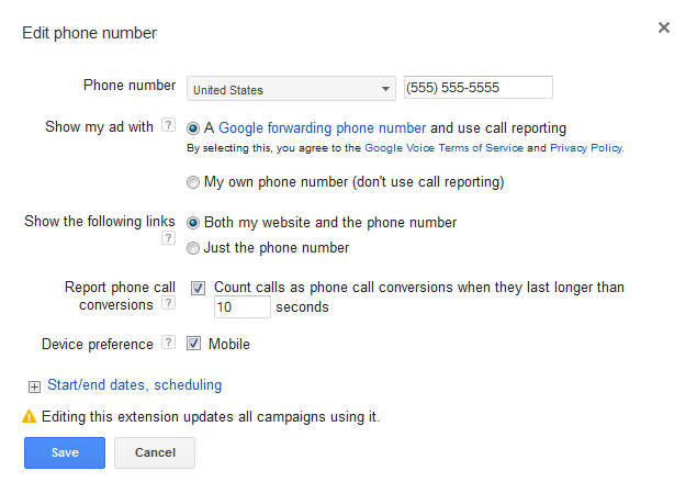 Setting up call extensions
