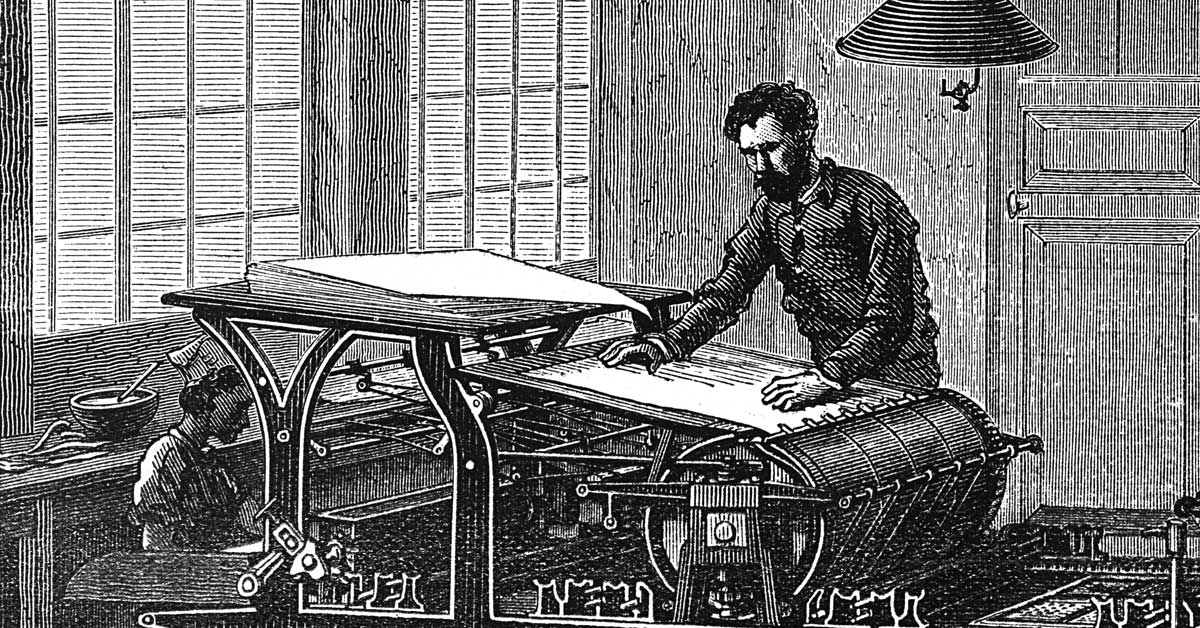 How to make your digital marketing content better - Image of an old printing press and process