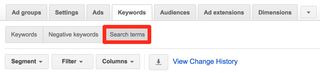 Search Term Report example