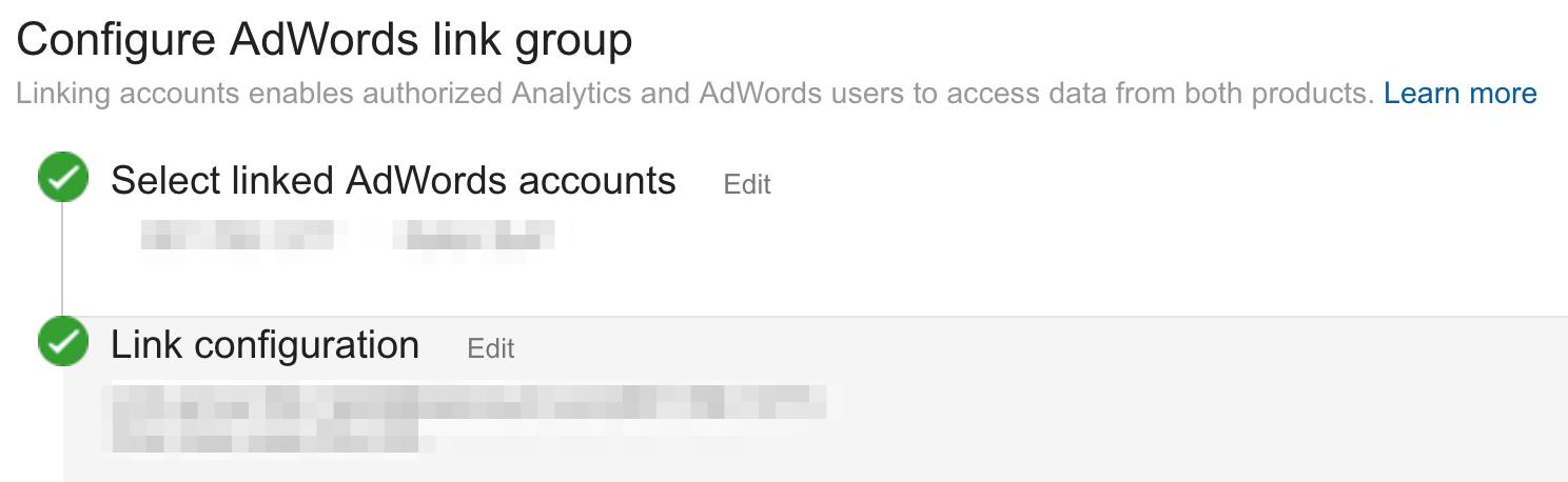 Configure AdWords Link Group