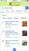 Mobile search results showing Event Schema markup for SEO