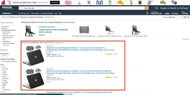 Amazon paid or promoted products are given prime placement
