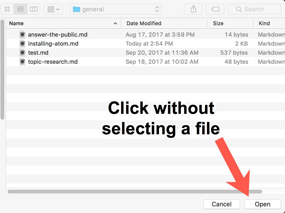 Open a folder in Atom