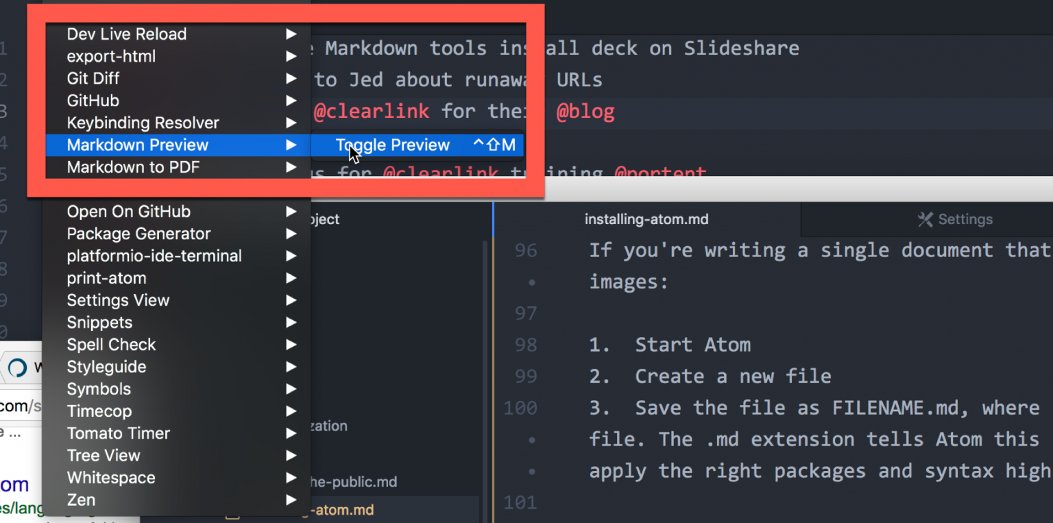 Toggling Markdown Preview