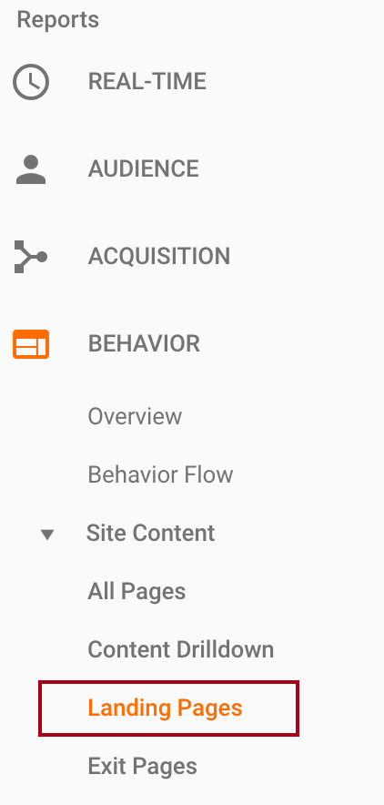 Where to find the Landing Page Report in Google Analytics