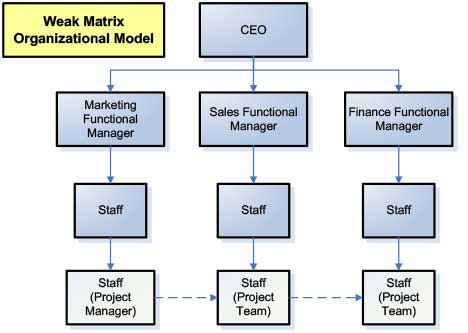 Diagram of Weak Matrix Organization Model - Marketing Project Management