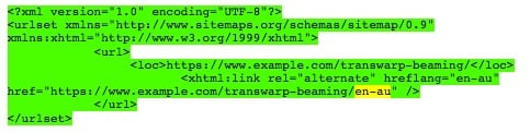 Language information example for an XML sitemap