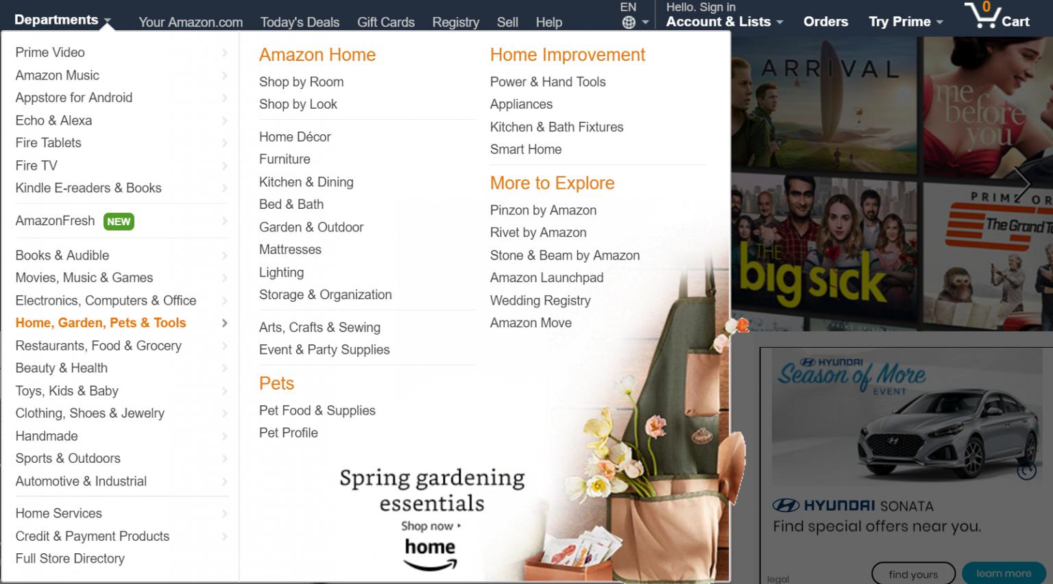 Screenshot of Amazon flyout menu