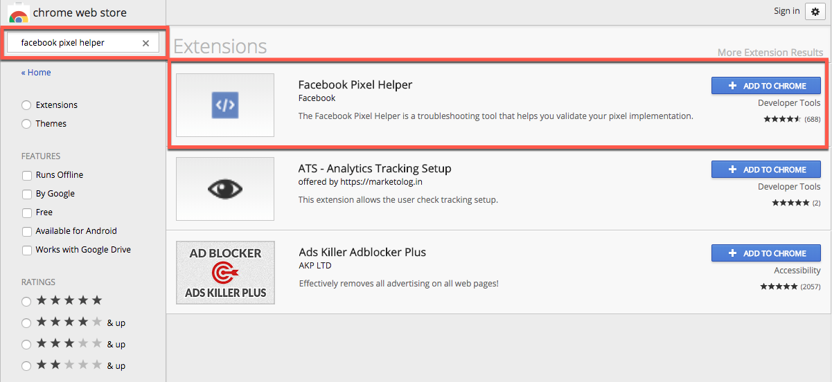 Search 'Facebook Pixel Helper' in the Chrome web store