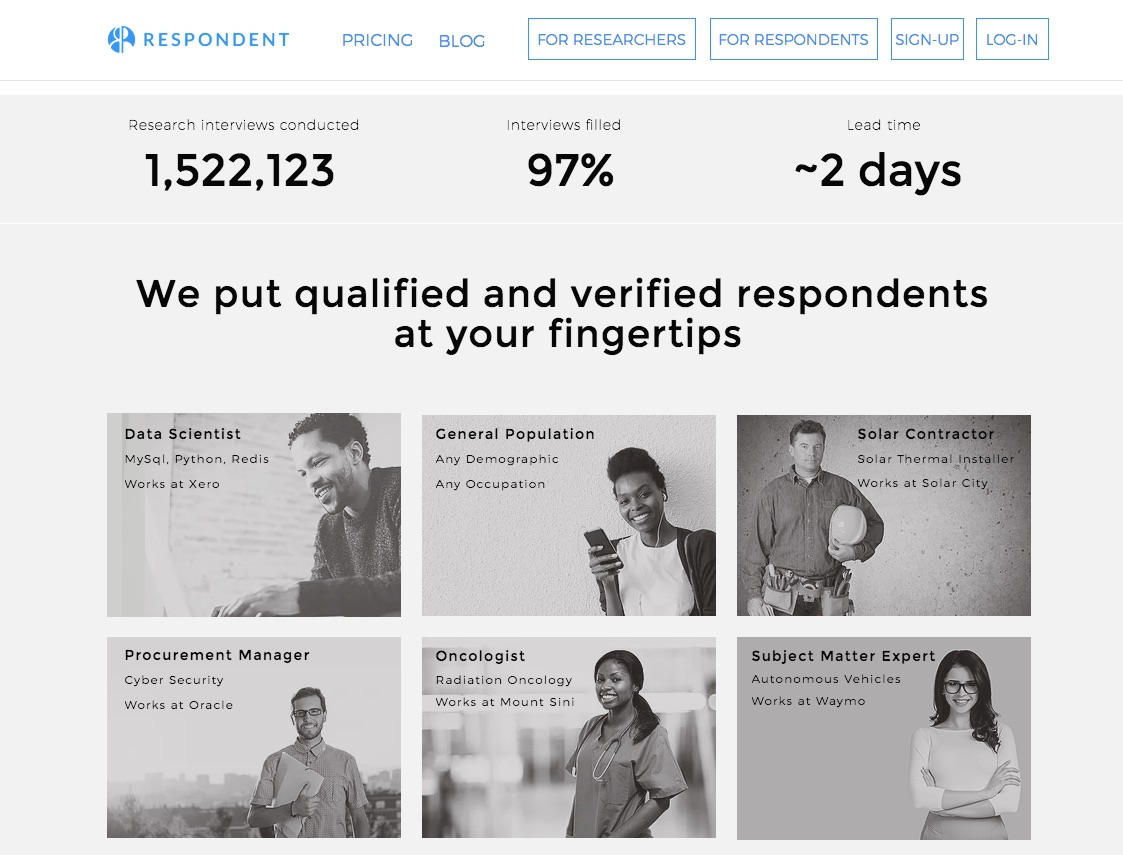 Respondent is a service for user research recruitment