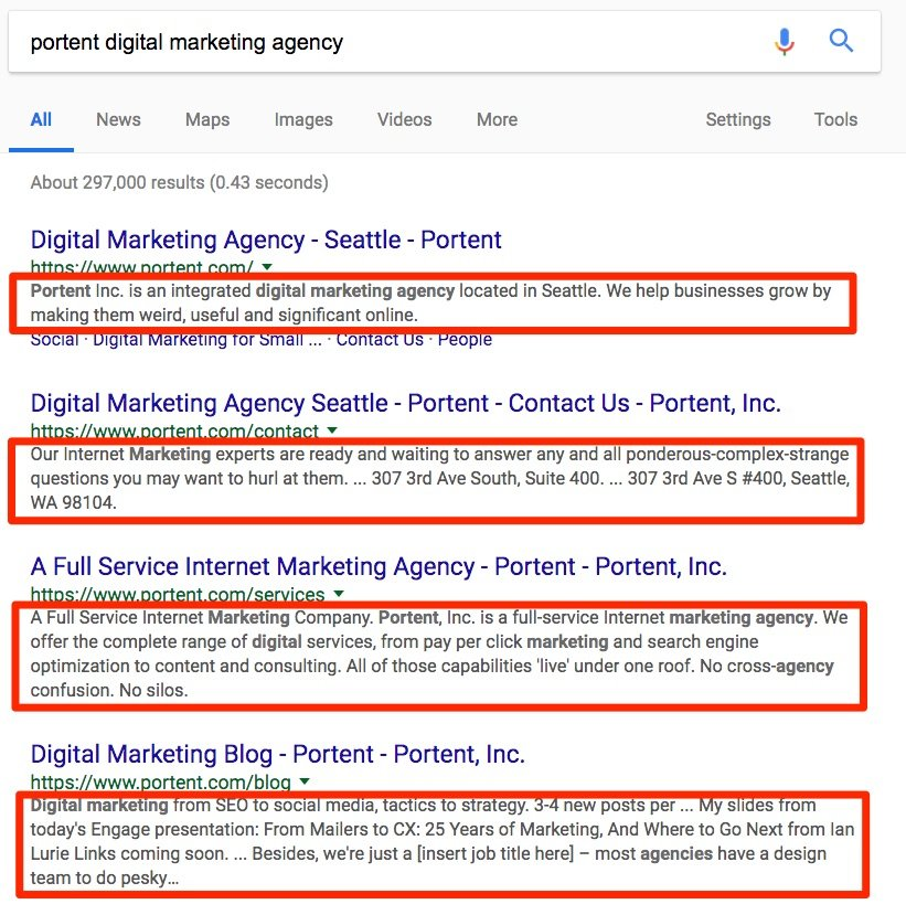 Example of meta descriptions in Search Results Page or SERP