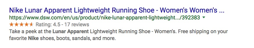 Schema markup example for running shoes