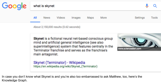 What is Skynet Google search knowledge graph result