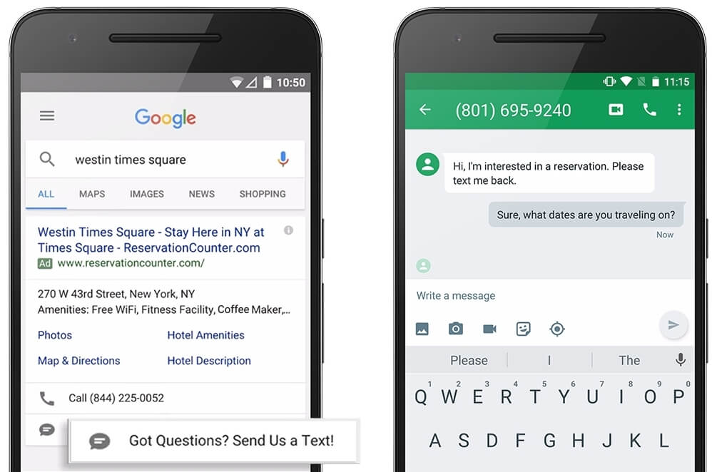 Message extensions to optimize mobile PPC results