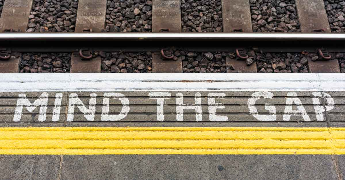 Desktop call-tracking through services like CallRail allow marketers to close the insight gap on campaigns - Image of a subway mind the gap sign