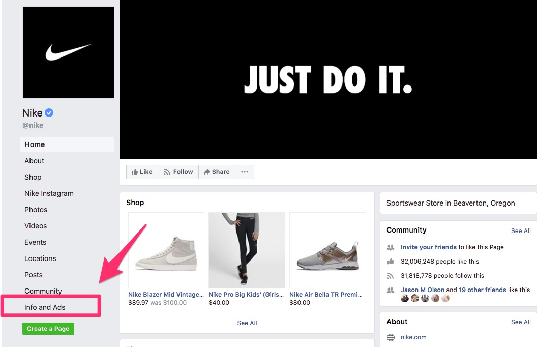 Where to find the Info and Ads tab on a Facebook page for any brand